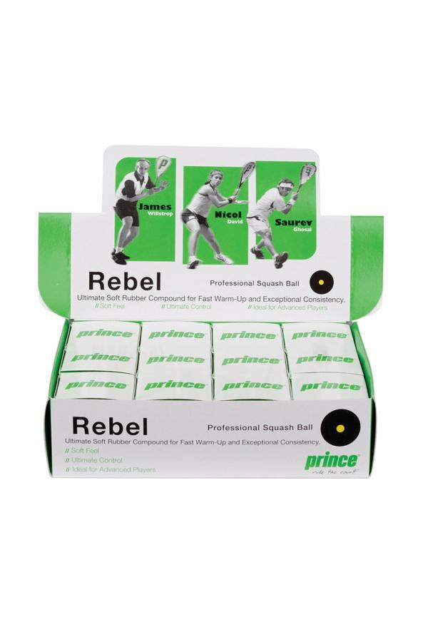 Prince Rebel Squash Balls single yellow dot - 1 doz box